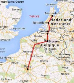 amsterdam to paris rail map