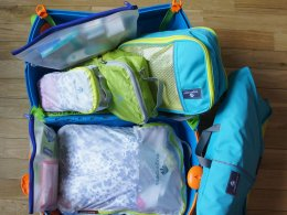 Colour-coded bags help you sort through packing easily
