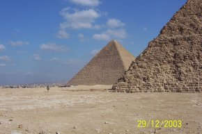 Egyptian Pyramids side view surrounded by desert