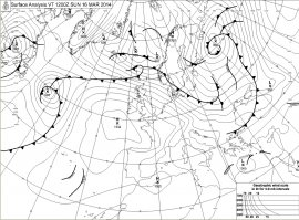 Map frpm the UK Met office this morning showing a large high pressure ridge over France. Click for much larger version.