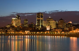 montreal skyline night river reflection