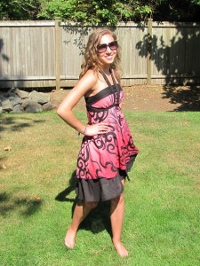 Pink Tribal Wrap Skirt Halter Dress