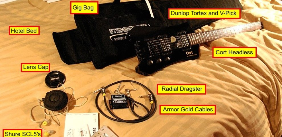 Travel bass guitars with folding neck