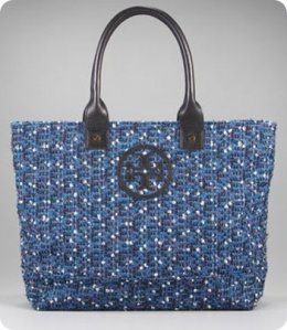 Tory Burch blue tweed tote