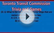 TTC Trivia: Name the Subway Stations- Question and Answer